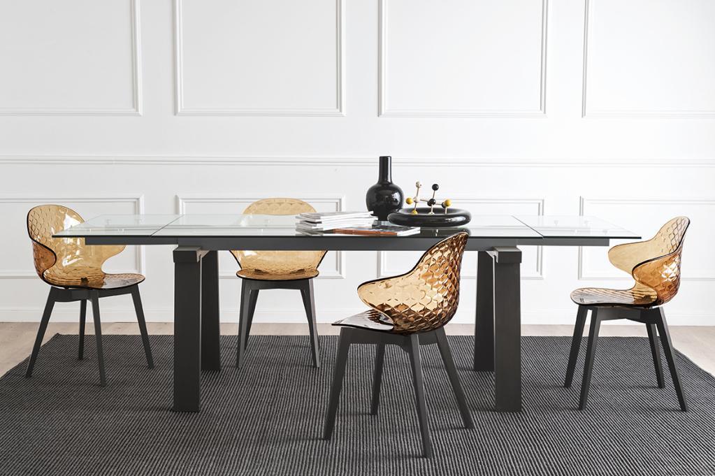 Calligaris kovový prosklený stůl