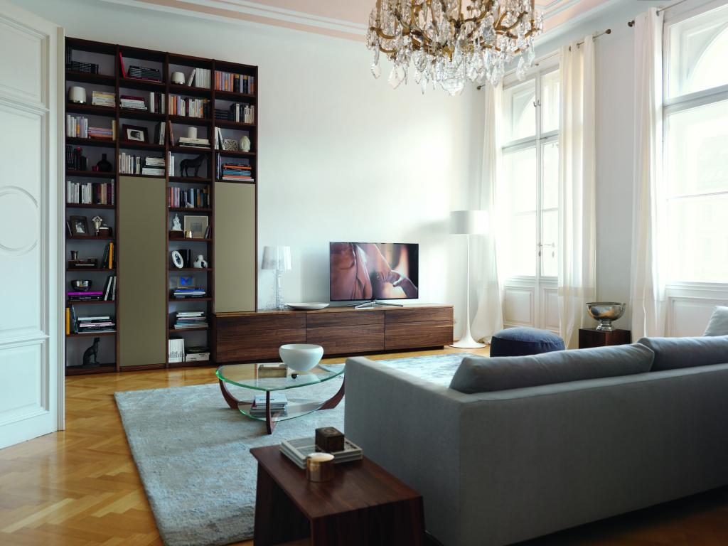 Obývací stěna s knihovnou